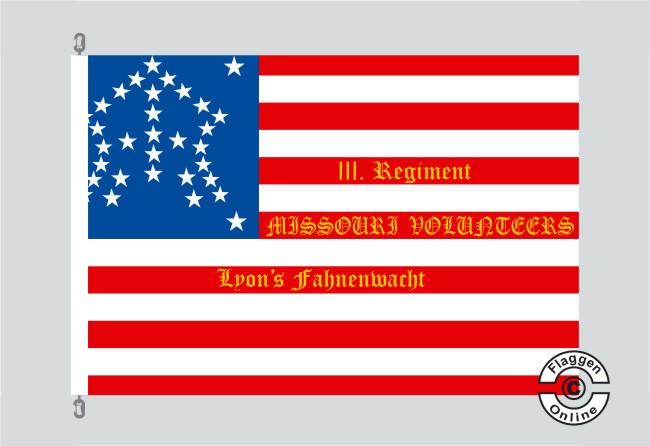 3rd Regiment Missouri Volonteers Lyons Fahnenwacht Flagge