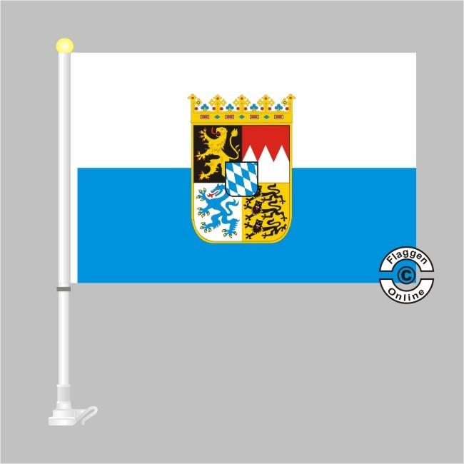 Bayern mit Wappen Autoflagge