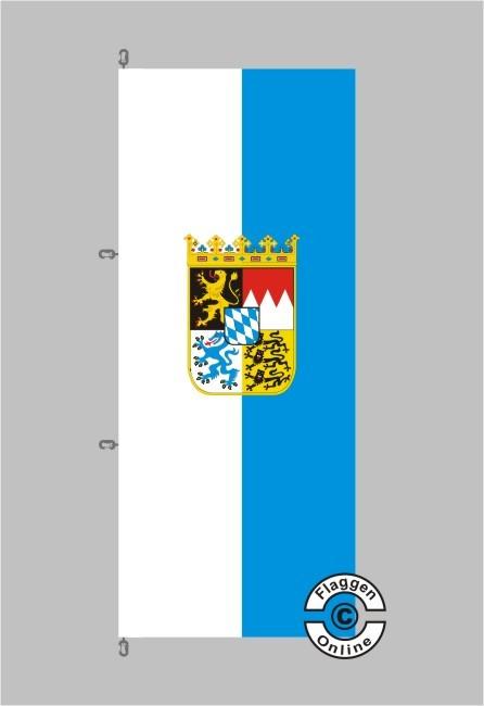 Bayern mit Wappen Hochformat Flagge / Fahne für extreme Windlasten