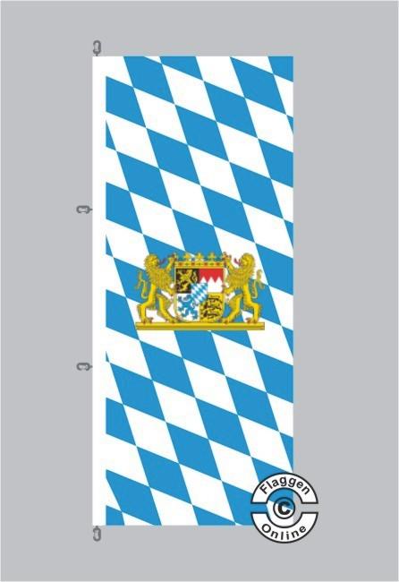 Bayern Raute mit Löwenwappen Hochformat Flagge / Fahne für extreme Windlasten