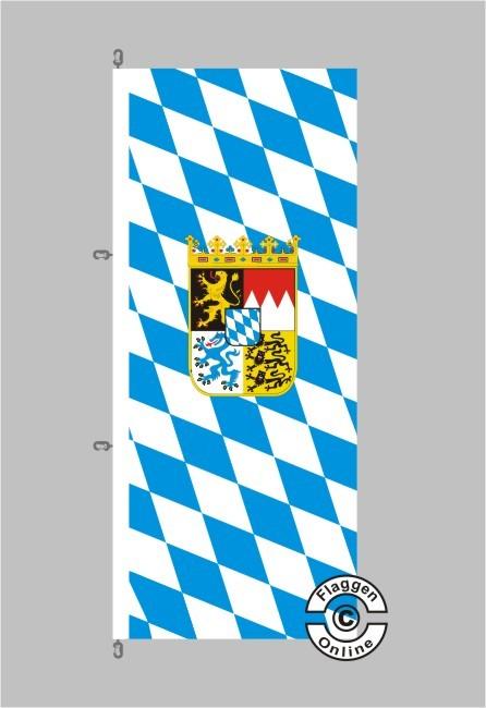 Bayern Raute mit Wappen Hochformat Flagge / Fahne für extreme Windlasten