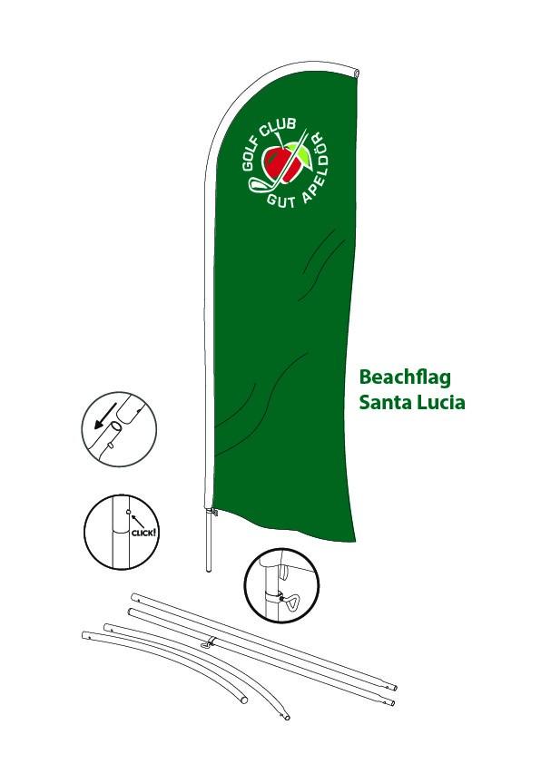 FO-Santa Lucia Beachflag Komplettsystem inkl. Erdspieß