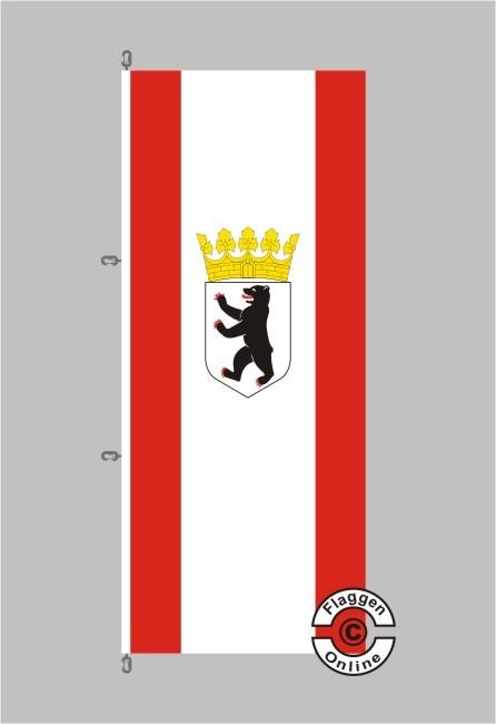 Berlin Bär mit Krone Hochformat Flagge / Fahne für extreme Windlasten