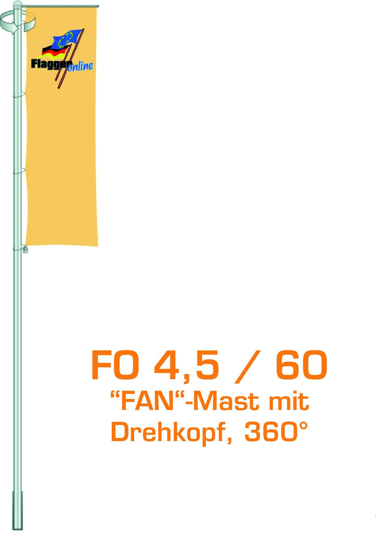 Alu-Flaggenmast Fan, 4,5 Meter
