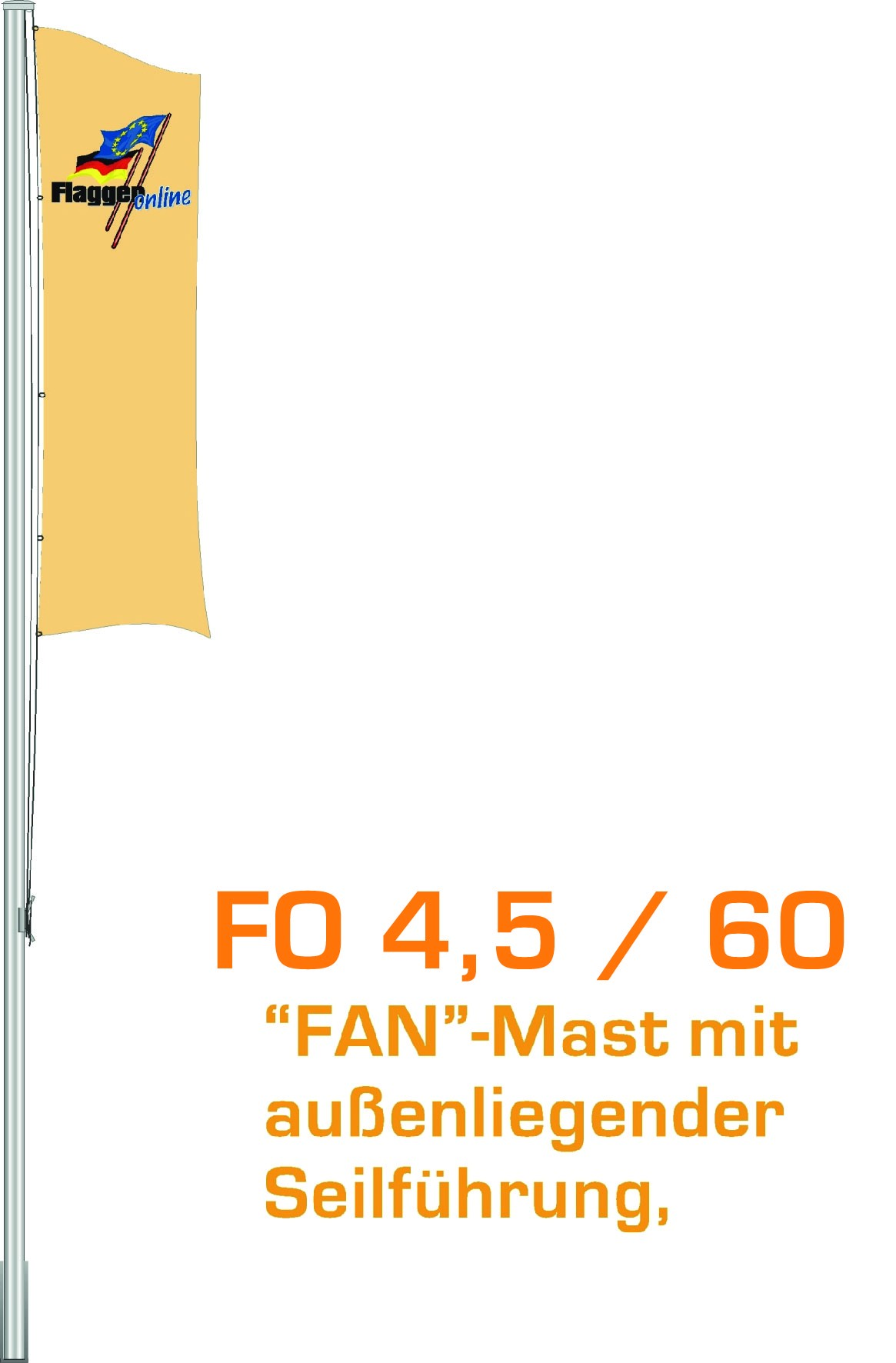 Alu-Flaggenmast Fan, 4,5 Meter