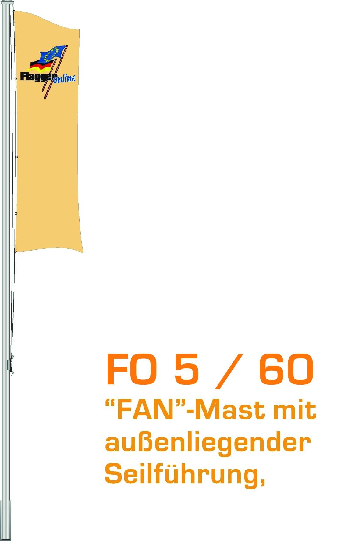 Alu-Flaggenmast Fan, 5 Meter