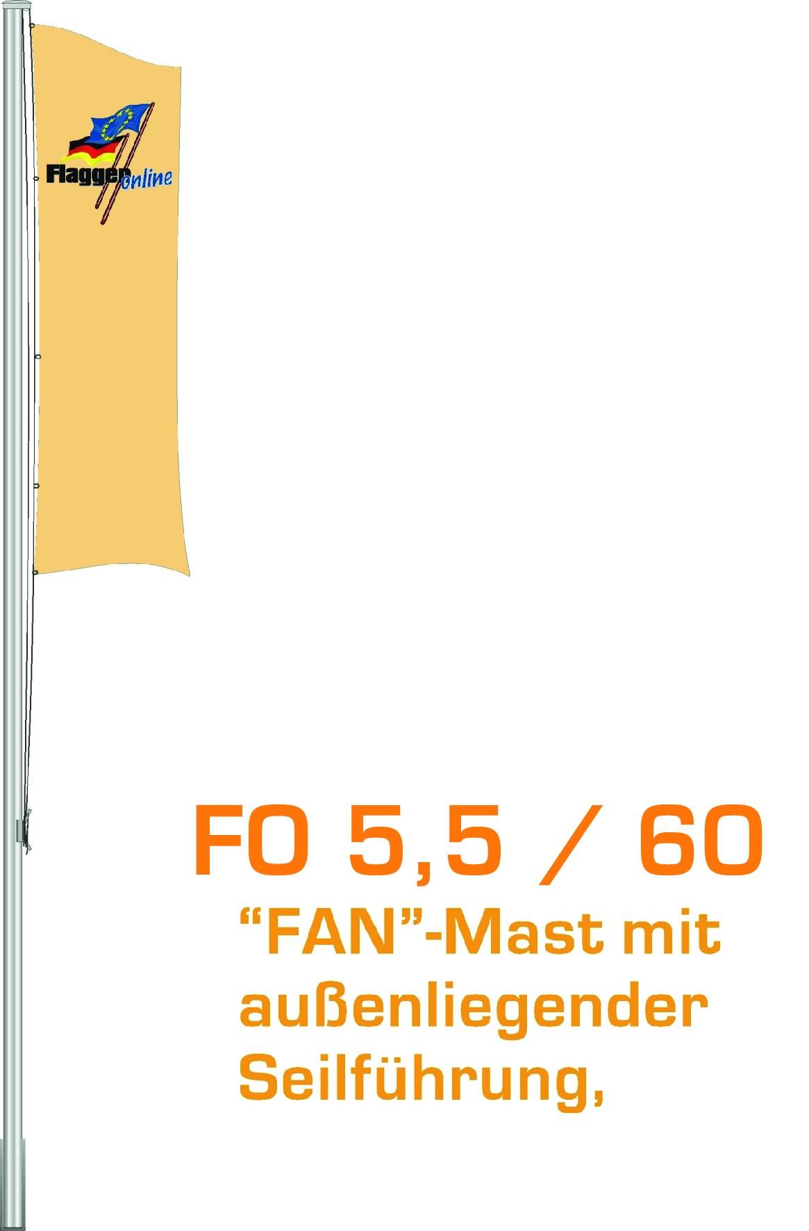 Alu-Flaggenmast Fan, 5,5 Meter