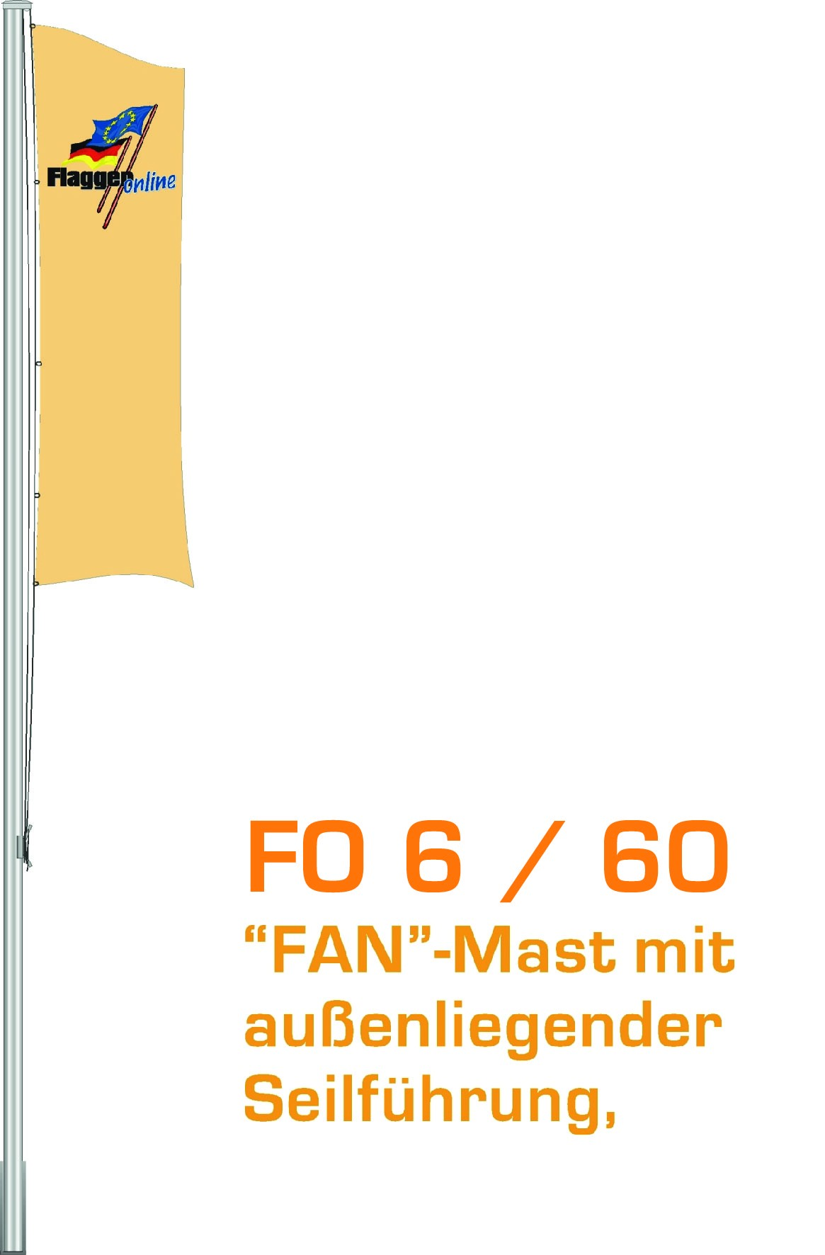 Alu-Flaggenmast Fan, 6 Meter