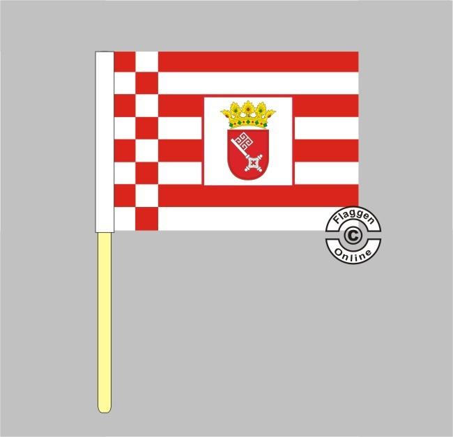 Bremen mit Wappen Stockflagge