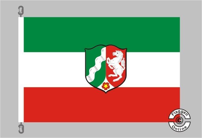 Nordrhein-Westfalen mit Wappen Flagge