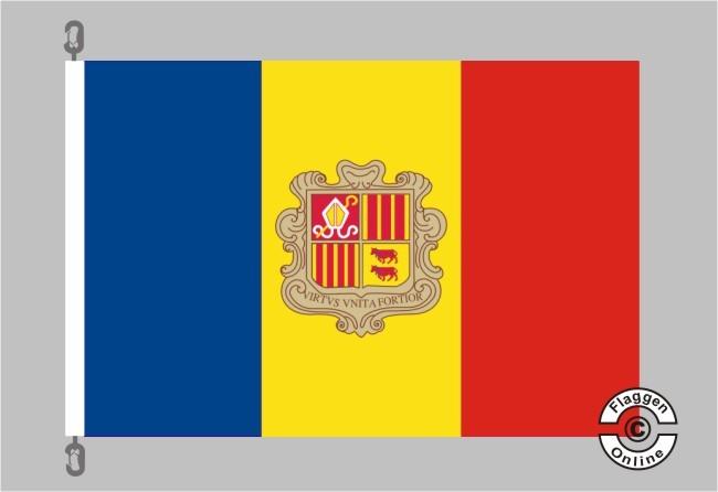 Andorra m. Wappen Flagge