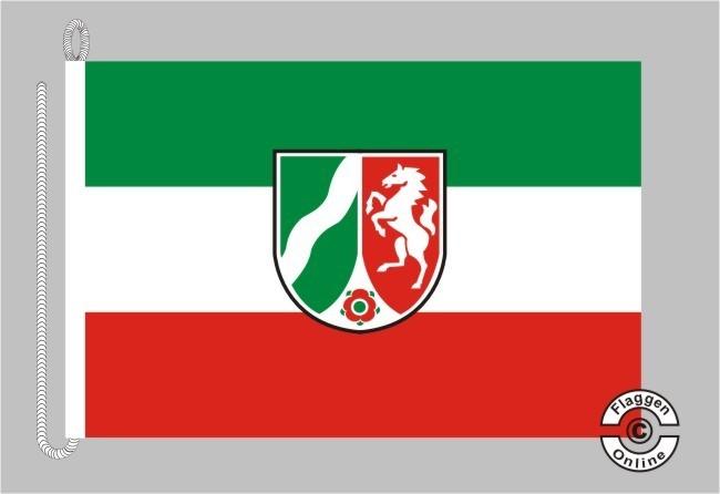 Nordrhein-Westfalen mit Wappen moderne Fassung Bootsflagge