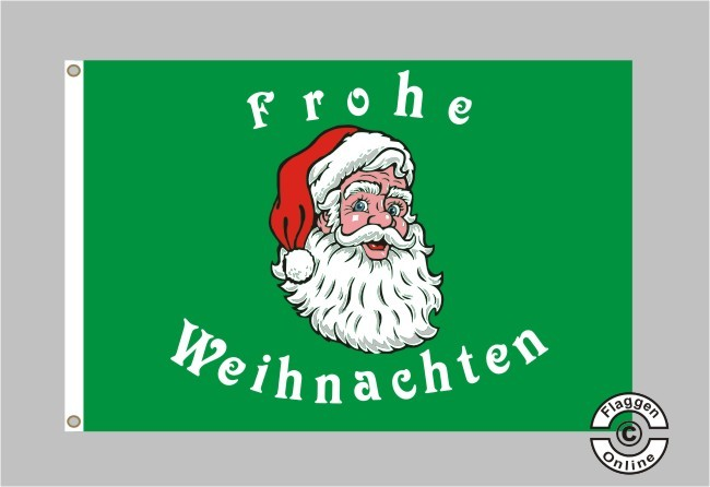 Weihnachtsmann Frohe Weihnachten (grün) Flagge