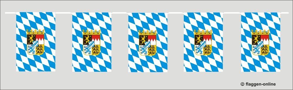 Bayern Raute mit Wappen Flaggenkette