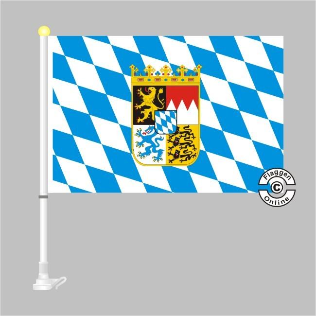 Bayern Raute mit Wappen Autoflagge
