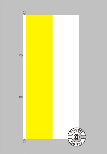 Kirchenfahne gelb weiß Hochformat Flagge