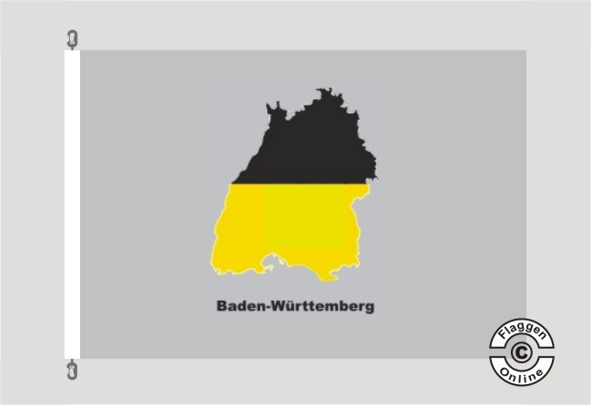 Baden-Württemberg Kontur grau Flagge