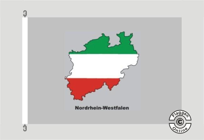 Nordrhein-Westfalen Kontur grau Flagge