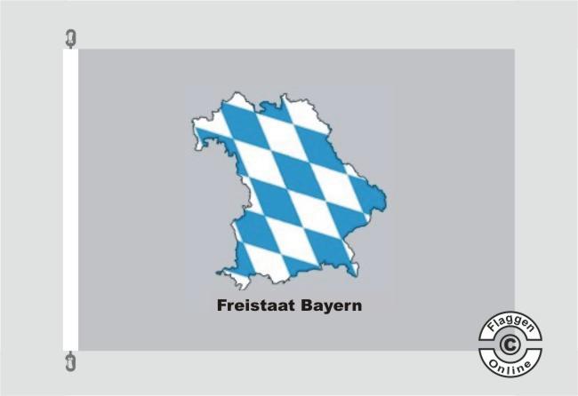 Bayern Freistaat Bayern Kontur grau Flagge