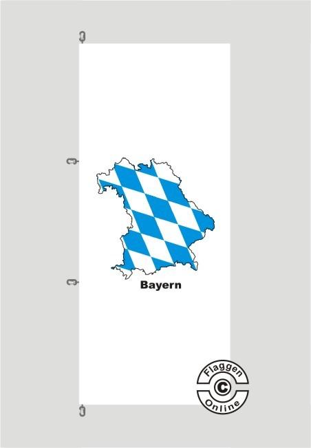 Bayern Kontur weiß Hochformat Flagge