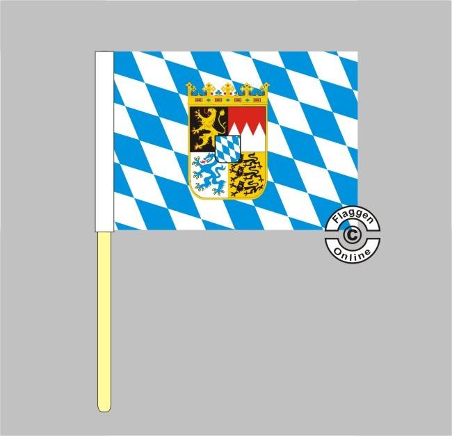 Bayern Raute mit Wappen Stockflagge