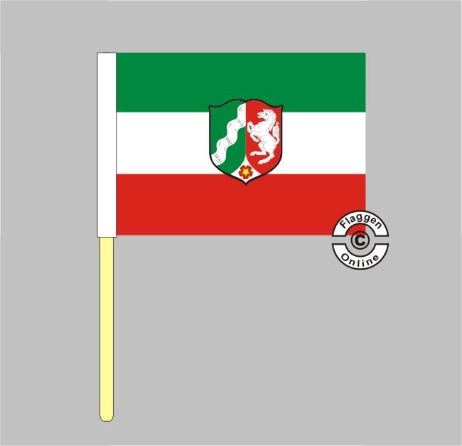 Nordrhein-Westfalen mit Wappen alt Stockflagge