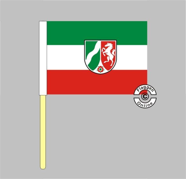 Nordrhein-Westfalen mit Wappen Stockflagge