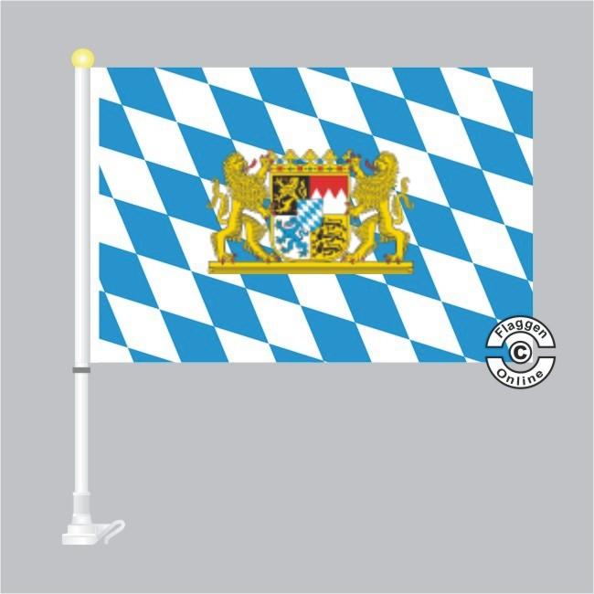 Bayern Raute mit Löwenwappen Autoflagge