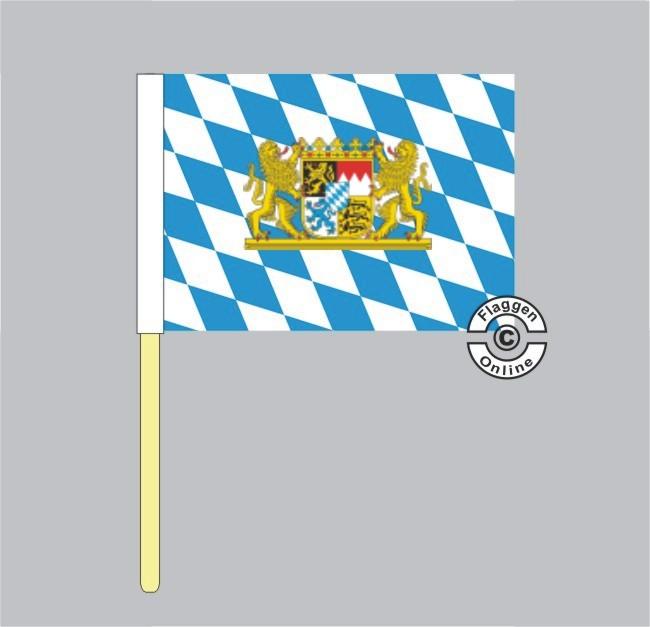 Bayern Raute mit Löwenwappen Stockflagge