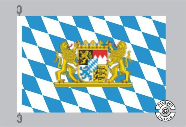 Bayern Raute mit Löwenwappen Flagge
