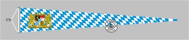 Bayern Raute mit Löwenwappen Langwimpel mit Querholz