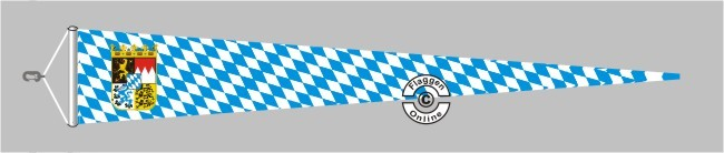 Bayern Raute mit Wappen Langwimpel mit Querholz