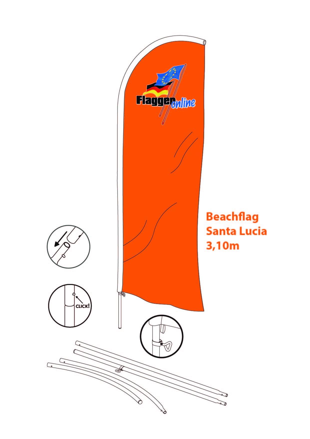 FO-Santa Lucia Beachflag  Komplettsystem inkl. Bodenplatte!
