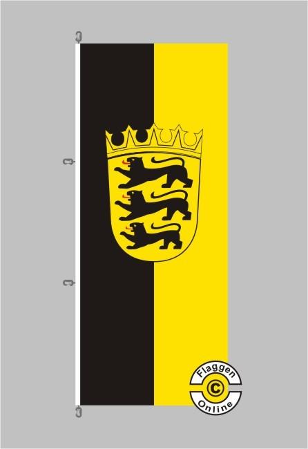 Baden-Württemberg mit Wappen Hochformat Flagge / Fahne für extreme Windlasten