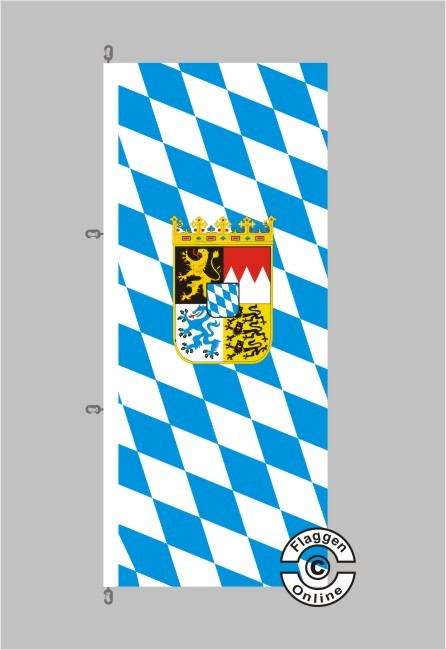 Bayern Raute mit Wappen Hochformat Flagge