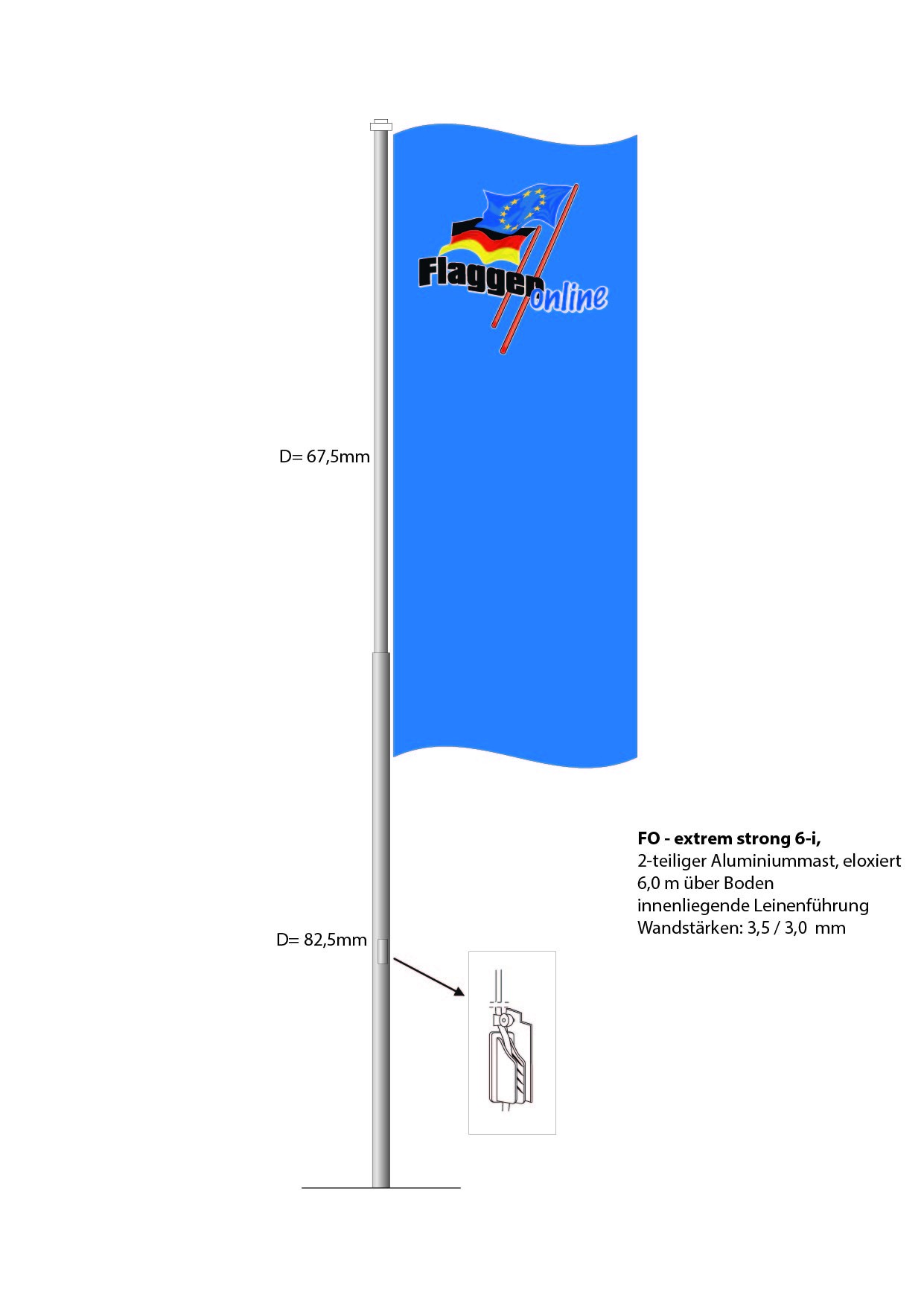 Aluminium Flaggenmast FO-Extra Strong 6i, 6 Meter über Boden