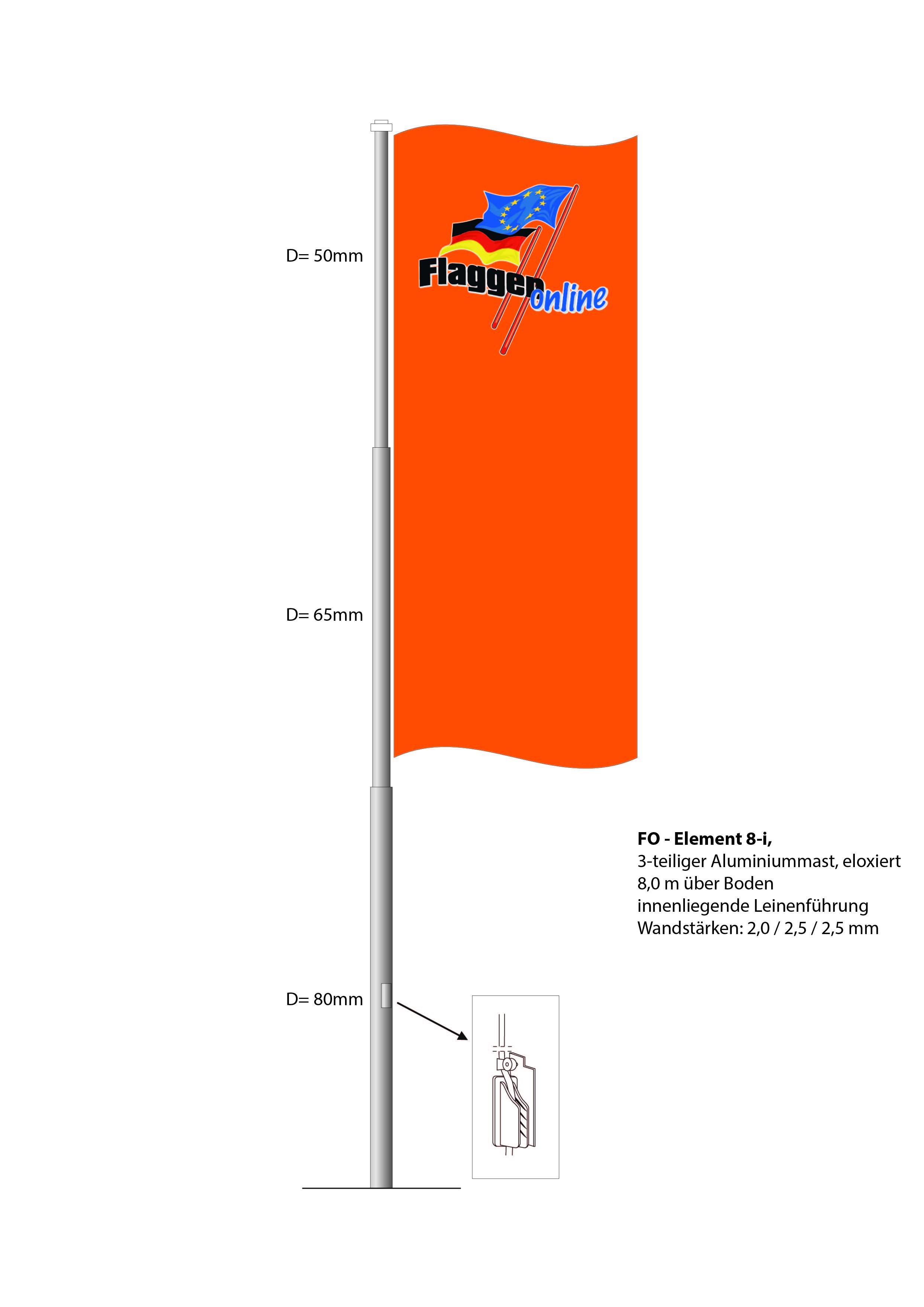 Alu-Flaggenmast FO-Element 8i, 8,0 Meter über Boden