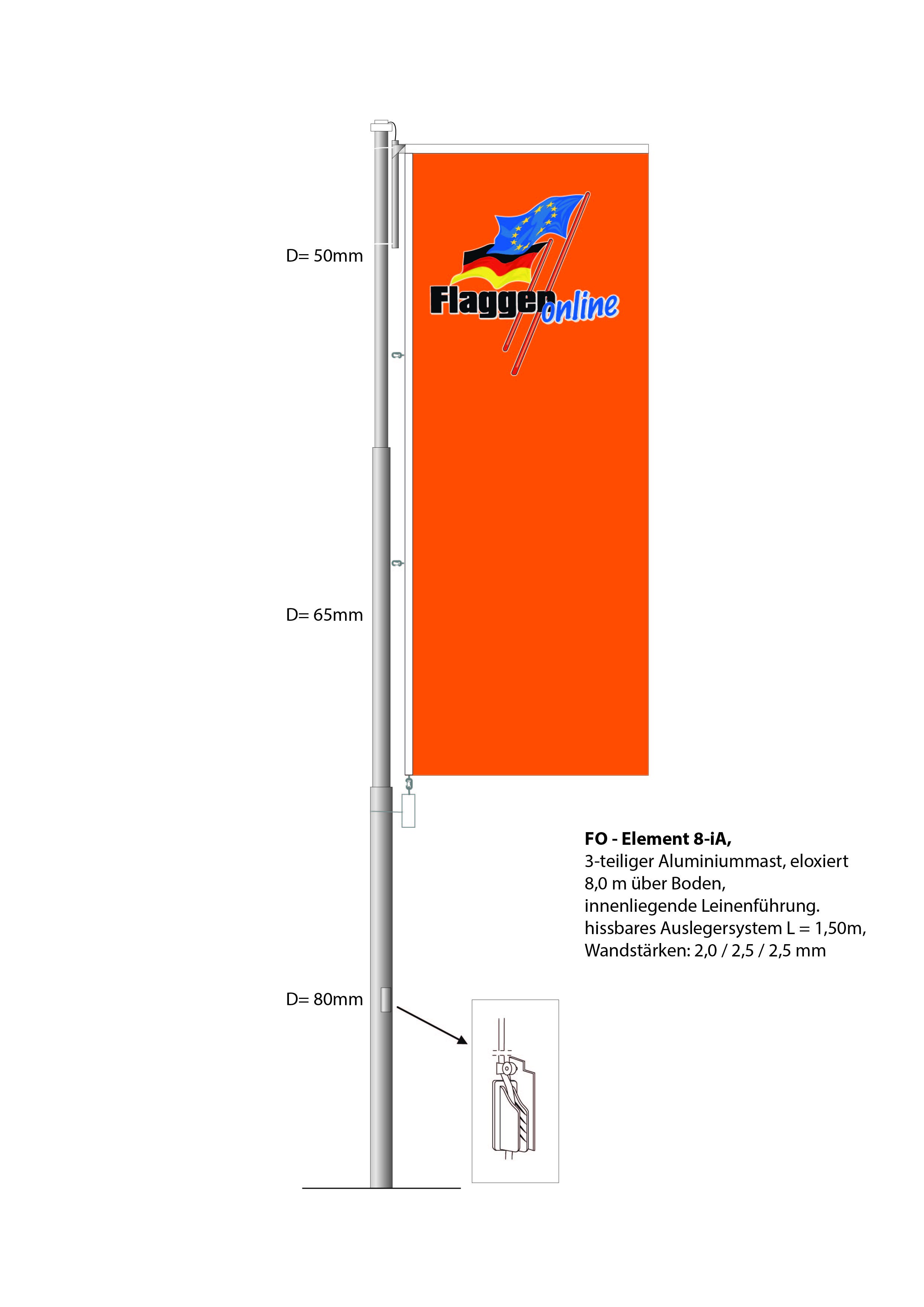 Alu-Flaggenmast FO-Element  8-iA, 8 Meter über Boden