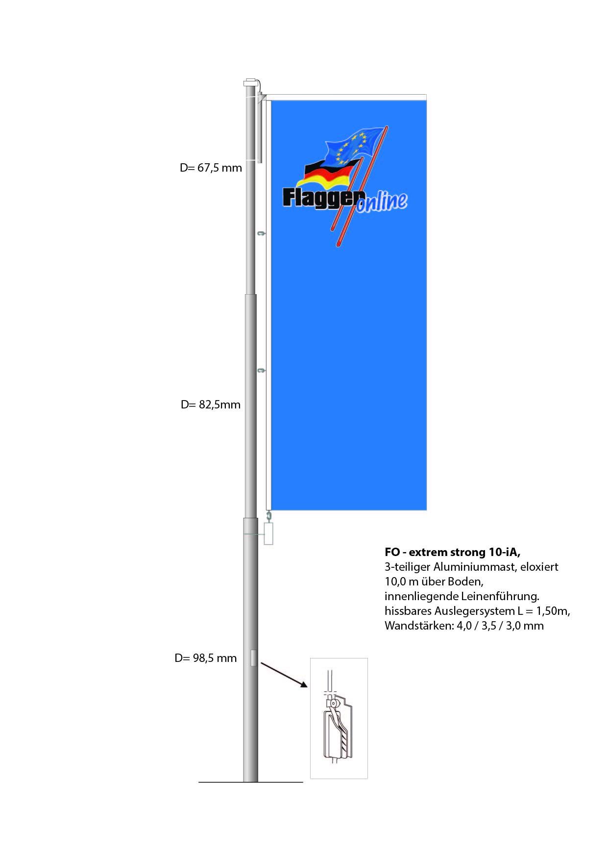 Aluminium Flaggenmast FO-Extra Strong 10iA, 10 Meter über Boden
