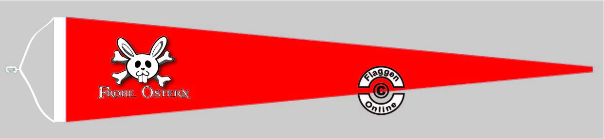 """Frohe Ostern """"Jolly Roger"""" rot Langwimpel mit Querholz"""