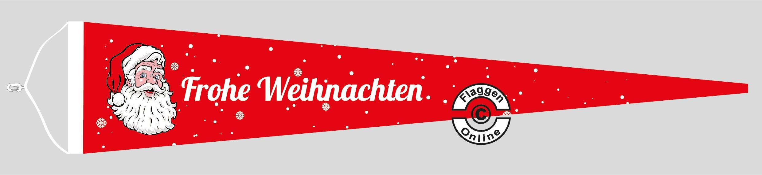 Frohe Weihnachten rot Langwimpel mit Querholz