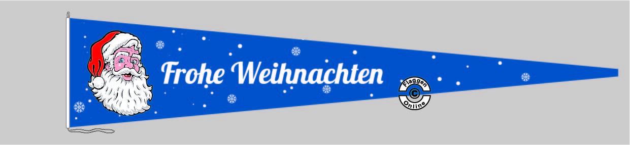 Frohe Weihnachten blau Langwimpel