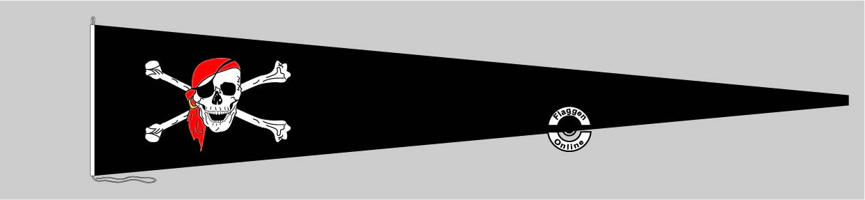 Langwimpel Pirat mit Kopftuch Schwarz