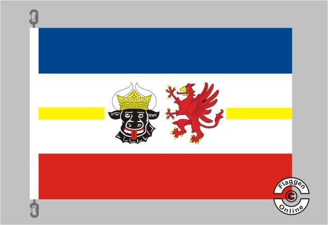 Mecklenburg-Vorpommern mit Wappen Flagge