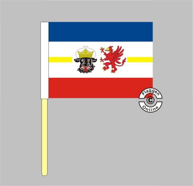Mecklenburg-Vorpommern mit Wappen Stockflagge