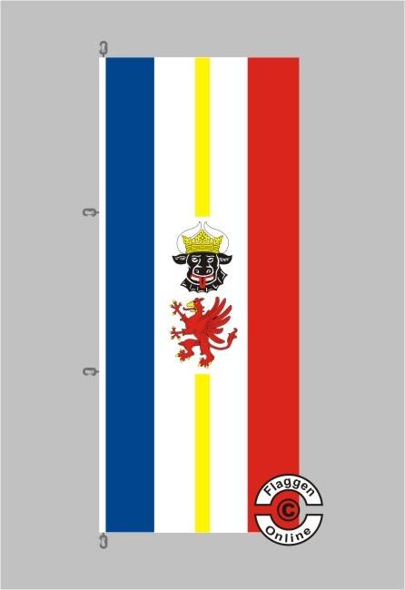 Mecklenburg-Vorpommern mit Wappen Hochformat Flagge / Fahne für extreme Windlasten
