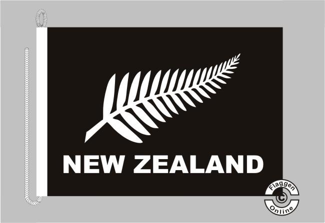 Neuseeland Silberfarn schwarz Bootsflagge