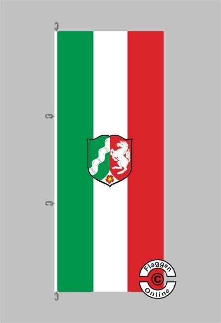 Nordrhein-Westfalen mit Wappen Hochformat Flagge / Fahne für extreme Windlasten