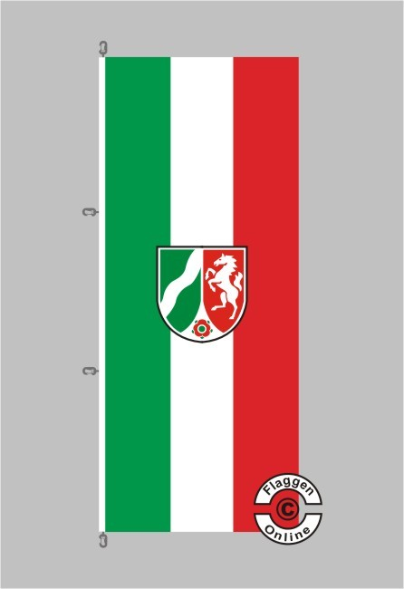 Nordrhein-Westfalen mit Wappen moderne Fassung Hochformat Flagge / Fahne für extreme Windlasten