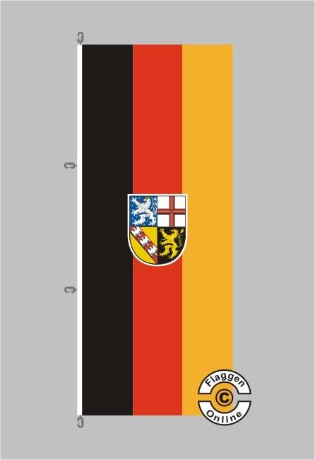 Saarland Hochformat Flagge / Fahne für extreme Windlasten